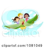 Clipart Stick Kids Flying On A Bird Royalty Free Vector Illustration