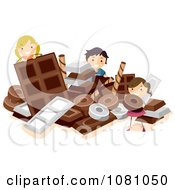 Clipart Stick Kids Playing In A Pile Of Chocolate Royalty Free Vector Illustration