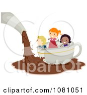 Clipart Stick Kids Floating On Chocolate In A Tea Cup Royalty Free Vector Illustration