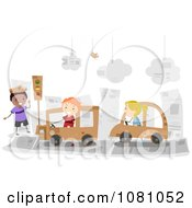Clipart Stick Kids Driving Cardboard Cars In A Paper City Royalty Free Vector Illustration