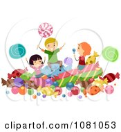 Clipart Stick Kids Playing In Candy Royalty Free Vector Illustration