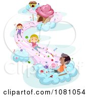 Clipart Stick Kids Playing On Candy Clouds Royalty Free Vector Illustration