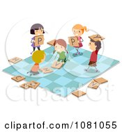 Poster, Art Print Of Stick Kids Playing On A Giant Game Board