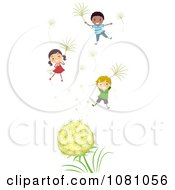 Clipart Stick Kids Floating With Dandelion Seeds Royalty Free Vector Illustration by BNP Design Studio