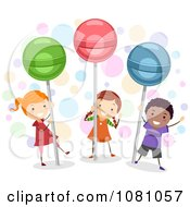 Clipart Stick Kids With Giant Lolipops Royalty Free Vector Illustration