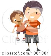 Clipart Stick Boy Playing With A Ventriloquist Doll Royalty Free Vector Illustration by BNP Design Studio