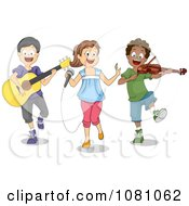 Clipart Kids Singing And Playing Instruments During A Performance Royalty Free Vector Illustration by BNP Design Studio