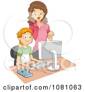 Clipart Computer Teacher Supervising A School Boy Royalty Free Vector Illustration