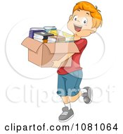 Clipart Charitable Boy Donating A Box Of Books Royalty Free Vector Illustration by BNP Design Studio