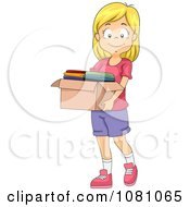 Clipart Charitable Girl Donating A Box Of Clothes Royalty Free Vector Illustration
