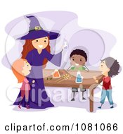 Clipart Stick Kids And A Witch Making A Potion Royalty Free Vector Illustration