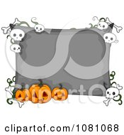 Clipart Gray Halloween Sign With Jackolanterns And Skulls Royalty Free Vector Illustration