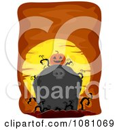 Clipart Jackolantern On A Grave Stone Over Orange Royalty Free Vector Illustration by BNP Design Studio
