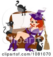 Clipart Sexy Halloween Pinup Witch Sitting On A Chair With A Sign Surrounded By Black Cats Royalty Free Vector Illustration