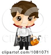 Clipart Vampire Halloween Boy With A Pumpkin Basket Royalty Free Vector Illustration