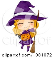Clipart Witch Halloween Girl With A Pumpkin Basket Royalty Free Vector Illustration
