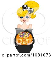 Clipart Pretty Blond Woman Holding A Halloween Candy Pumpkin Basket Royalty Free Vector Illustration