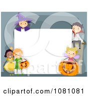 Clipart Halloween Stick Kids Around A Blank Sign Royalty Free Vector Illustration by BNP Design Studio