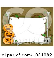 Clipart White Halloween Sign With Bones And Jackolanterns Royalty Free Vector Illustration