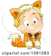 Clipart Toddler Fox Or Cat Halloween Girl Leaning Over A Sign Royalty Free Vector Illustration