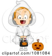 Clipart Ghost Halloween Girl With A Candy Bag Royalty Free Vector Illustration