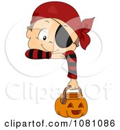 Clipart Toddler Boy In A Pirate Halloween Costume Hanging Over A Sign Royalty Free Vector Illustration