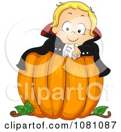 Clipart Toddler Vampire Halloween Boy On A Large Pumpkin Royalty Free Vector Illustration