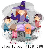 Halloween Witch And Stick Kids Around A Cauldron
