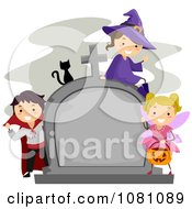 Clipart Halloween Stick Kids And Cat By A Tombstone Royalty Free Vector Illustration by BNP Design Studio