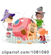 Clipart Halloween Stick Kids Painting A Skull Royalty Free Vector Illustration