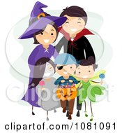 Clipart Halloween Stick Family Trick Or Treating Royalty Free Vector Illustration