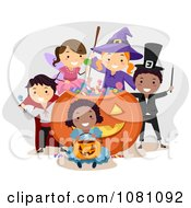 Clipart Halloween Stick Kids In Costumes Around A Giant Candy Pumpkin Royalty Free Vector Illustration