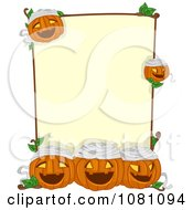 Clipart Yellow Halloween Sign With Mummy Jackolanterns Royalty Free Vector Illustration