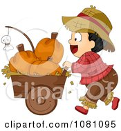 Clipart Toddler Farmer Halloween Boy Pusking A Cart Of Pumpkins Royalty Free Vector Illustration