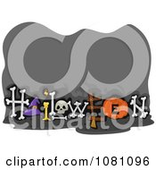 Clipart Gray Halloween Sign With Bones And Copyspace Royalty Free Vector Illustration