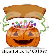 Clipart Candy Jackolantern Holding Up A Blank Wood Halloween Banner Royalty Free Vector Illustration