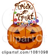 Clipart Halloween Jackolantern With Candy And Trick Or Treat Text Royalty Free Vector Illustration
