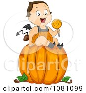 Clipart Toddler Devil Halloween Boy On A Large Pumpkin Royalty Free Vector Illustration by BNP Design Studio