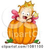 Clipart Toddler Fairy Halloween Girl On A Big Pumpkin Royalty Free Vector Illustration