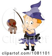 Toddler Witch Halloween Girl With A Voodoo Doll On A Stick
