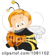 Clipart Cute Halloween Baby In A Bee Costume Hugging A Pumpkin Royalty Free Vector Illustration