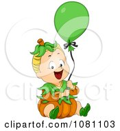 Clipart Halloween Baby In A Pumpkin Costume With A Balloon Royalty Free Vector Illustration