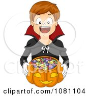 Clipart Boy Trick Or Treating As A Vampire Royalty Free Vector Illustration