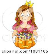 Clipart Girl Trick Or Treating As A Princess Royalty Free Vector Illustration