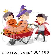 Clipart Halloween Stick Kids Putting Jackolanterns In A Wheelbarrow Royalty Free Vector Illustration