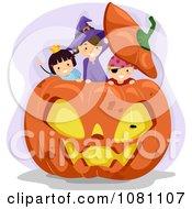 Clipart Halloween Stick Kids Playing In A Giant Jackolantern Pumpkin Royalty Free Vector Illustration