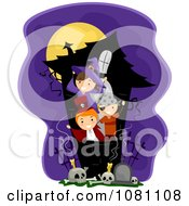 Clipart Halloween Stick Kids Playing In A Haunted House Royalty Free Vector Illustration