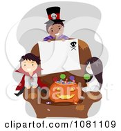 Clipart Halloween Stick Kids With A Blank Sign On A Chair Royalty Free Vector Illustration by BNP Design Studio