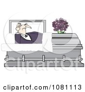 Clipart Vampire Rising In A Coffin Casket Royalty Free Vector Illustration