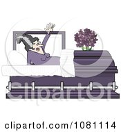 Clipart The Bride Of Frankenstein Rising In A Coffin Casket Royalty Free Vector Illustration